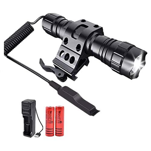 Torcia tattica a LED 100000 lumen Torcia con luce da caccia con montaggio su guida a sgancio rapido e pressostato...