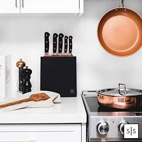Copper Knife Set , A Knife Set with Sharpener Built-In , Upright 7-Piece Rose Gold Knife Set - Self Sharpening Knife Set With Block, Rose Gold Kitchen Accessories