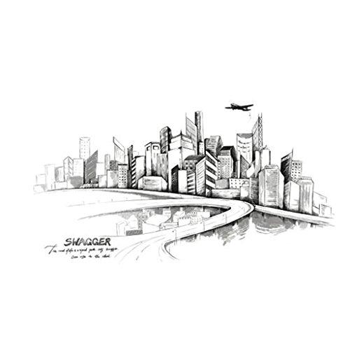 GAOLILI Grande mode Esquisse moderne Peint à la main Urbain Architecture urbaine Décorations de salon Autocollants muraux Boutique Autocollants simples Autocollant à grande échelle à double main