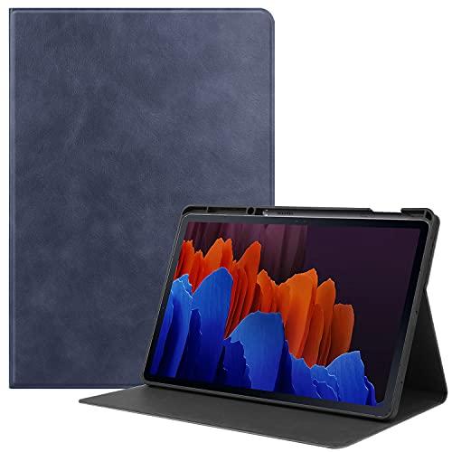 Funda Protectora Tab S7 Plus, Adecuada Para Samsung Galaxy Tab S7 2020 S7 Plus SM-T970/T975 12,4 Pulgadas,Funda Protectora Inteligente Tres Pliegues,función Activación/suspensión Automática,Navy bilue