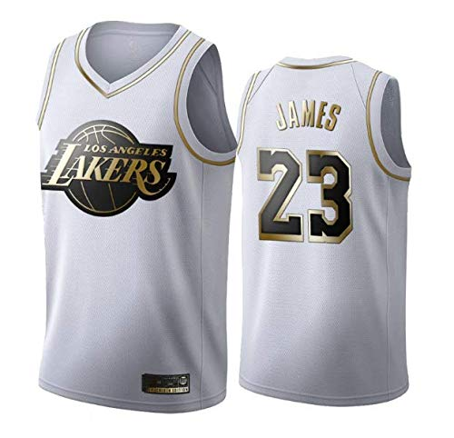 Ropa de Baloncesto para Hombre NBA Los Angeles Lakers # 23 Lebron James Black/White-Gold Jersey Bordado, Unisex Baloncesto Fan sin Mangas Capacitación de Deportes Chaleco,Blanco,S