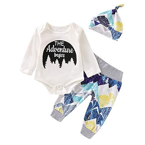 DAY8 Pyjama Bebe Fille Naissance Vetement Bebe Garcon Ensemble Bébé Fille Hiver Habit Body Bebe Fille Manche Longue Deguisement Halloween Garcon Barboteuse + Pantalon + Bonnet (Blanc, 70(0-6 Mois))