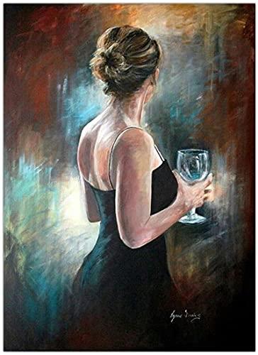 Arte della parete su tela classico donna vino astratto moderno dipinto su tela immagine wall art poster e stampe decorazione della casa 50x70 cm senza cornice
