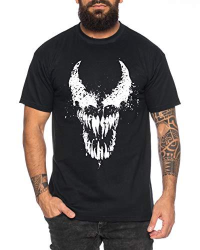 Tee Kiki Eddi Brock Face Herren T-Shirt Cooles lustiges Fun Shirt, Schwarz, L