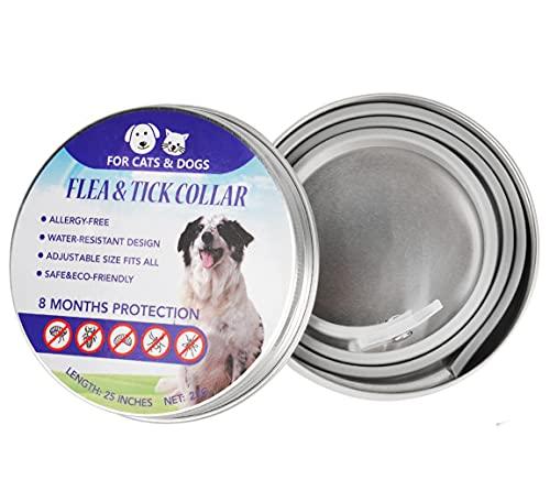 Collar Ajustable contra Pulgas Y Garrapatas para Perros/Gatos, Collar Antipulgas para Perros con Aceite Esencial Antiparasitario Natural, Protección De 8 Meses, Impermeable