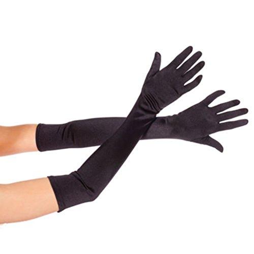 """DreamHigh Women's Party Wedding 21"""" Long Satin Finger Gloves Black"""
