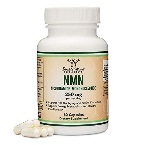 NMN Stabilized Form, 250mg Per Serving (Nicotinamide Mononucleotide), Third Party Tested, to Boost NAD+ Levels Like Riboside for Anti Aging by Double Wood Supplements (125mg Per Cap, 60 Capsules)