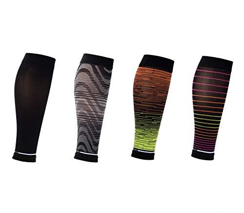 Dr. Motion Sports Calf Sleeves 4 pair pack (M/L, Black)
