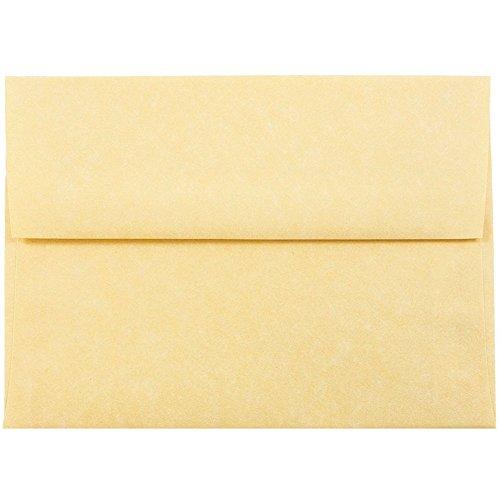 JAM PAPER A7 Parchment Invitation Envelopes - 5 1/4 x 7 1/4 - Antique Gold Recycled - 25/Pack