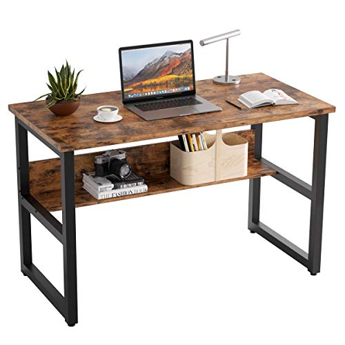 IRONCK Industrial Computer Desk 47' with Bookshelf, Office Desk, Writing Desk, Wood and Metal Frame, Industrial Style, Study Table Workstation for Home Office Furniture