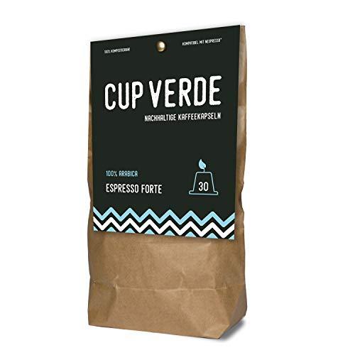 CUP VERDE – nachhaltige Kaffeekapseln Nespresso* kompatibel. Kompostierbar– fair gehandelt - schonend geröstet, kräftiger Geschmack - wenig Verpackung. 30 Kapseln Espresso Forte