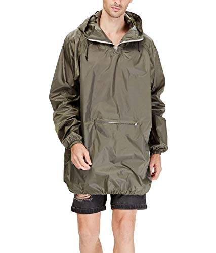 4ucycling Raincoat Easy Carry Wind Rain Jacket Poncho Coat Outdoor,Black/Green one Size,Updated Version