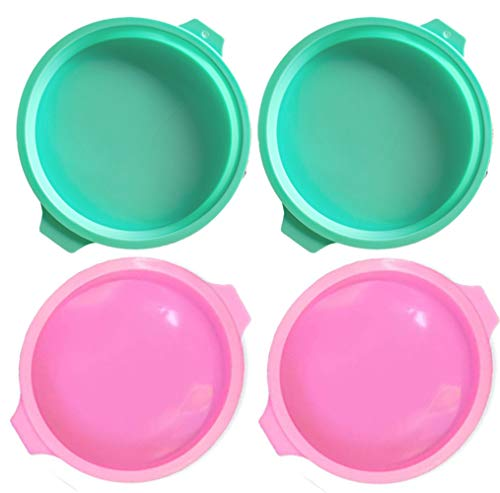 Silicone Cake Molds, Round Shape Bread Pie Flan Tart Non-Stick Baking Pan Molds for Birthday, Anniversary, Party, 6 inch, 4Pcs Pink green