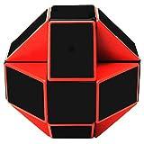EASEHOME Serpiente Magica Rompecabezas Cubo Mágico, 24Parts Snake Speed Puzzle Cube PVC Pegatina Magic Cubes Twist Juguete Juego Educación para niños y Adultos, Negro Rojo