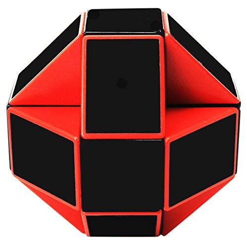 Serpiente Magica Rompecabezas Cubo Mágico, 24Parts Snake Speed Puzzle Cube PVC Pegatina Magic Cubes Twist Juguete Juego Educación para niños y Adultos, Negro Rojo