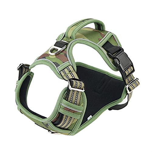 LUBINGT Pet Accessories Dog Harness No-Pull Nylon Pet Harness Adjustable Soft Padded Dog Vest Reflective Easy Control Handle for Small Large Dogs (Color : Camouflage Green, Size : M)