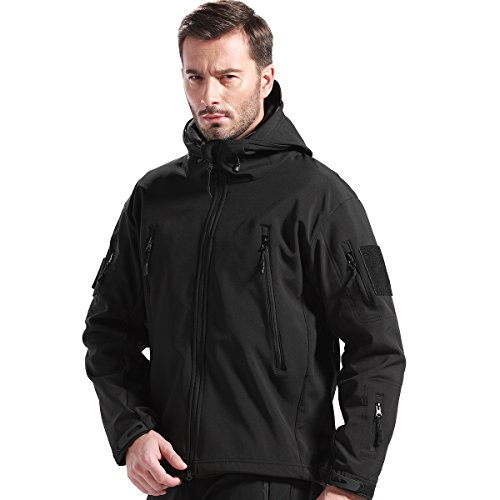 FREE SOLDIER Herren Winterjacke Military Softshell Jacken Outdoor Fleecefutter Winddichte wasserdichte Jacke mit Kapuze Warme Taktische Jacken mit Mehreren Taschen für Jagdausflüge(Schwarz,2XL)
