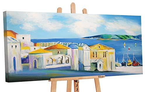 YS-Art   Cuadro Pintado a Mano Costa de Sol   Cuadro Moderno acrilico   115x50 cm   Lienzo Pintado a Mano   Cuadros Dormitories   único   Azul