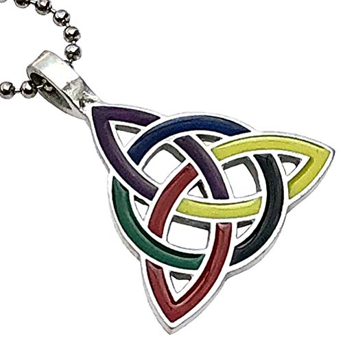 Celt Celtic Jewelry Elemental Rainbow LGBT Triquetra Trinity Knot Norse Viking Pagan Magic Wicca Wiccan Witch Protection Amulet Pewter Pendant Necklace Charm for men women w Silver Ball chain
