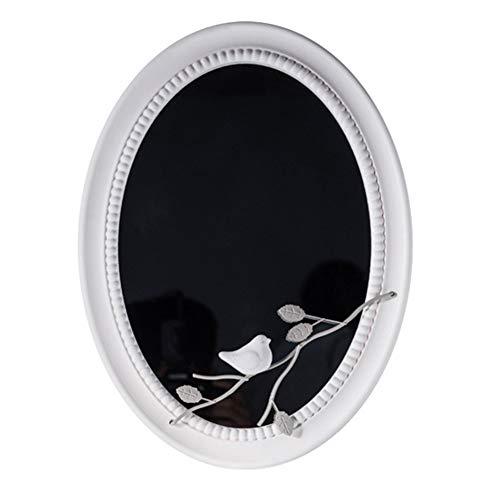 Cqing Espejo de Pared con decoración Ovalada Blanca con pájaro de Metal en la Rama para baño, tocador, Sala de Estar, Dormitorio