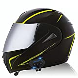 Bluetooth Casco Moto Modular ECE Homologado Integrado Casco de Moto Scooter para Mujer Hombre Adultos con Doble Visera - Espejo Negro de Fibra de Carbono C,S