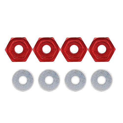 Dilwe 4 STÜCKE Metall RC Rad Hex Naben 12mm bis 17mm Adapter für HSP 1/10 Elektrische Straßenfahrzeug LKW(rot)