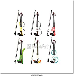 Barewalls A Set of Colorful Violins On White Background Paper Print Wall Art (8in. x 8in.)