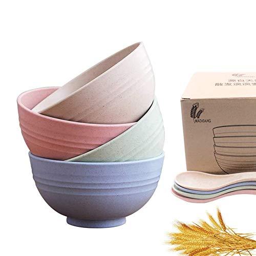 AMZSUPER ERA Miljövänlig müsliskål, müsliskål stor uppsättning om 4 müsliskålar vetehalm fiber demonteras skål för müsli, sallad, soppa, nudel (15 × 15 × 8 cm)