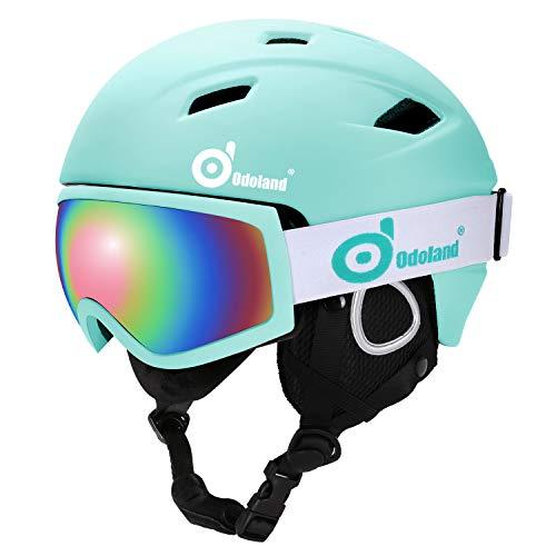 Odoland Skihelm Skibrille Set Snowboardhelm mit Snowboardbrille für Erwachsene und Kinder Schneebrille UV 400 Schutz Windwiderstand Snowboard Brille zum Skifahren Bergsteigen Hellblau M-54-56cm