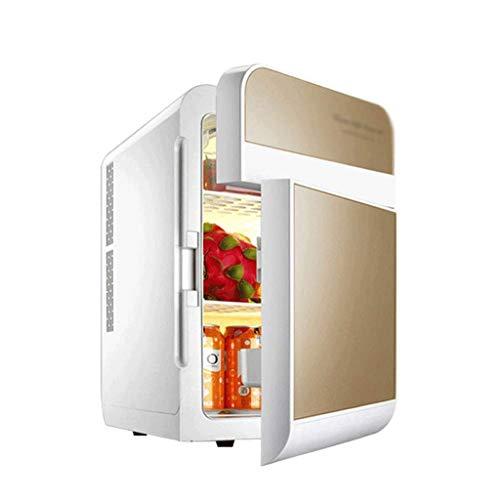 ZJHDX Draagbare mini-koelkast, persoonlijke compacte elektrische koel- en verwarmingskast met opbergruimte, inclusief 110 V en 240 V voor thuis, kantoor, auto, camper en boot goud