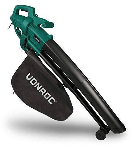 VONROC 3-in-1 bladblazer 3000 W - om weg te blazen, opzuigen en hakselen - blaasvermogen 270 km/h - incl. 35 l verzamelzak