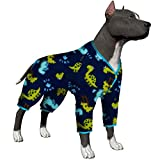 LovinPet Dog Clothing for Universal Large Dogs/Big Dinosaur in The Jungle Prints Prints/Lightweight Snap Button Large Puppy Pajamas/Full Coverage Dog Pjs/Large Dog Onesie Jumpsuit