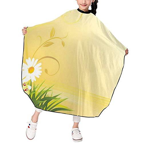 Flores de manzanilla curvadas, mariposas voladoras, niños, peluquero, corte, capa, salón, peinado, paño, delantal, cubierta, vestido, broche ajustable, 39 x 47 pulgadas