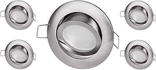 Pack de 5 focos LED empotrables de aluminio fino, 230 V, 110°, orientables, transformador LED integrado, blanco cálido (3000 K)