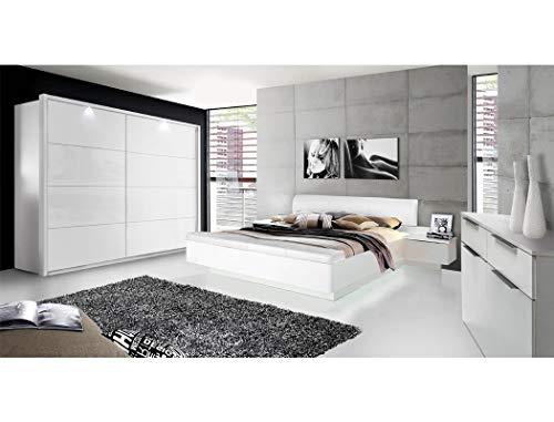 expendio Schlafzimmer Sophie 21C weiß teilweise Hochglanz Doppelbett mit 2X Nako Schwebetürenschrank mit Beleuchtung Kommode