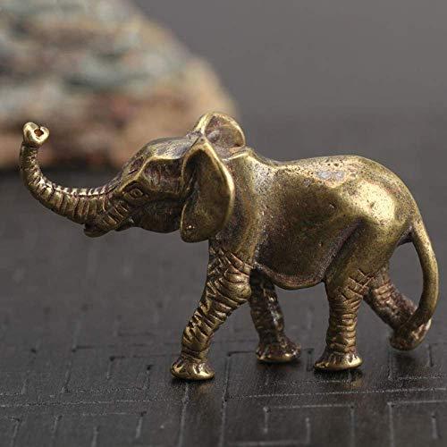 ZWWZ Antike Messing Elefant Schlüsselanhänger Anhänger Retro kleine Ornamente Handgemachte Kupfer Tisch Desktop Dekoration Schmuck DIY Zubehör MISU
