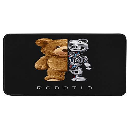 Guitong - Alfombra de cocina, diseño de oso de medio robot con ilustración de cocinero, antideslizante, ligera, flexible, alfombra desgastada para colada, decoración de cocina, 99 x 50 cm