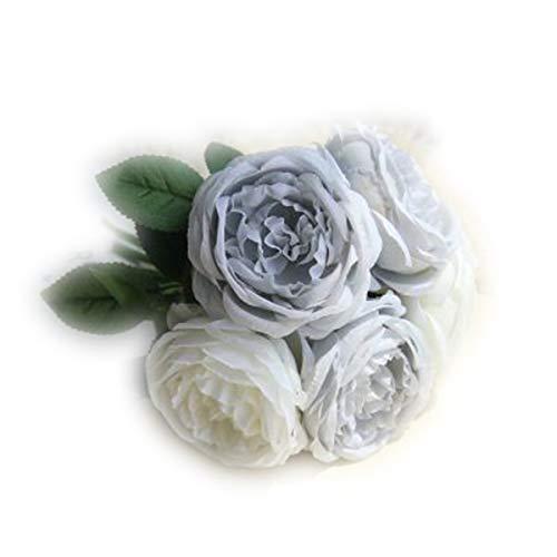 Greatangle-UK Imitación de Rosas Flores Falsas Realista Ramo de Boda florero Flor decoración del hogar Suministros de Adorno de Boda