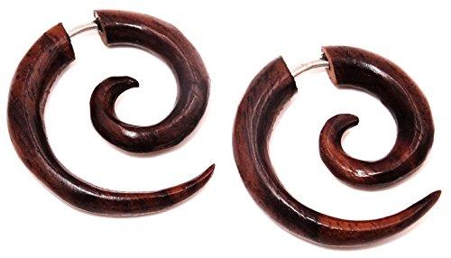Pendientes falsos dilatadores de madera marrón, unisex, diseño étnico, falsa espiral