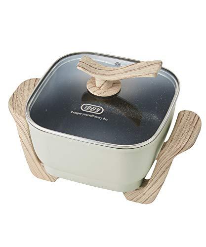 【Toffy/トフィー】コンパクトマルチ電気鍋K-HP3(アッシュホワイト)1台6役鍋ヒーター一体型煮る焼く蒸す炒める揚げる炊くコンパクト約2.8Lガラス蓋レトロかわいいK-HP3-AW