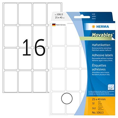 HERMA 10613 Vielzweck-Etiketten ablösbar (25 x 40 mm, 32 Blatt, Papier, matt) selbstklebend, Haushaltsetiketten zur Handbeschriftung, 512 Haftetiketten, weiß
