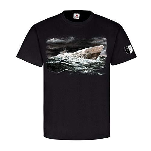 Lukas Wirp U995 Deutsches U-Boot Laboe Marine Meer Sturm T Shirt #23639, Größe:M, Farbe:Schwarz