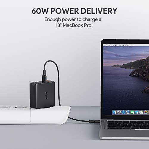 AUKEY USB C Ladegerät 60W Wandladegerät, Power Delivery Ladegerät mit Dynamic Detect & GaN Tech, USB-C Netzteil für MacBook Pro/Air, iPhone 11 Pro Max, Dell XPS 13, HP Spectre, Nintendo Switch usw
