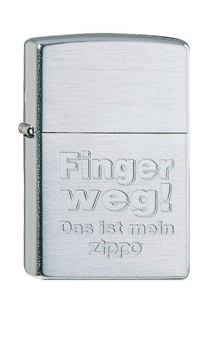 Zippo Feuerzeug 60001327 Finger Weg Benzinfeuerzeug, Messing, Brushed Chrome, 1 x 3,5 x 5,5 cm