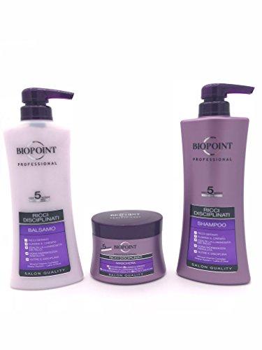 BIOPOINT Kit profesional para cabello rizado, champú + acondicionador + máscara | rizos despeinados de uso profesional