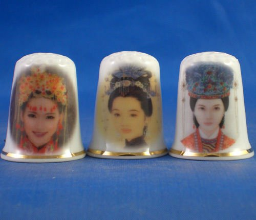 Dedales de Porcelana China cobrable raro conjunto de tres be