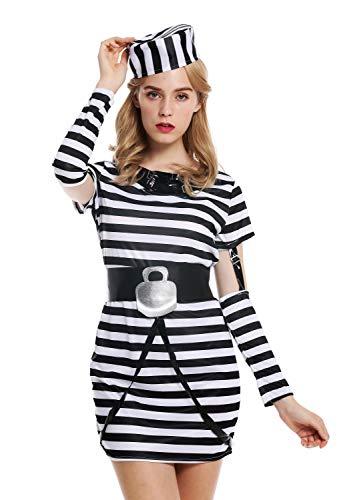 dressmeup - W-0055-S/M Disfraz Mujer Feminino Presa Delincuente Criminal Talla S/M