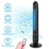 Tower Fan - 48 Inch Quiet Powerful Oscillating Fan, Bladeless Fan with Remote Control, 3 Mode, 3...