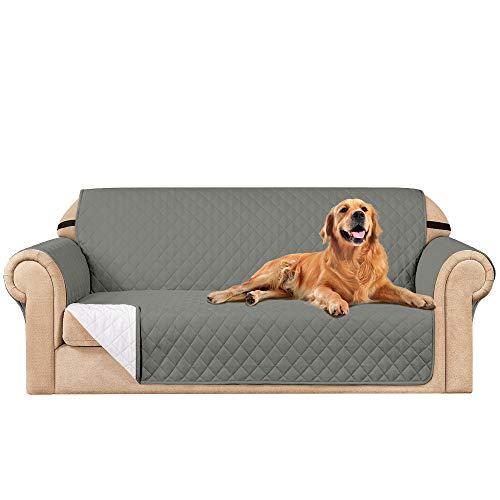 subrtex Funda de sofá Reversible Acolchada para 1,2,3 plazas Funda de Silla Antideslizante para Mascotas y niños con Correas Elásticas Protector de Muebles (3 Plaza,Gris Claro)