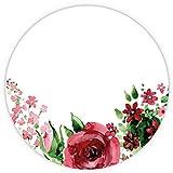 Mauspad Rose I Ø 22 cm rund I Mousepad in Standard-Größe, rutschfest I aquarell Vintage Blumen Motiv I für Mädchen Frauen I dv_437 Rose rot